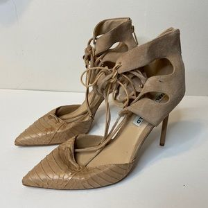 Karl Lagerfeld Womens 9.5 Strappy Heels Nude Brown
